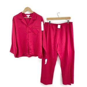 NEW Miss Elaine Red Women's Diamond Dot Pajamas 2pc-Set, Size XL